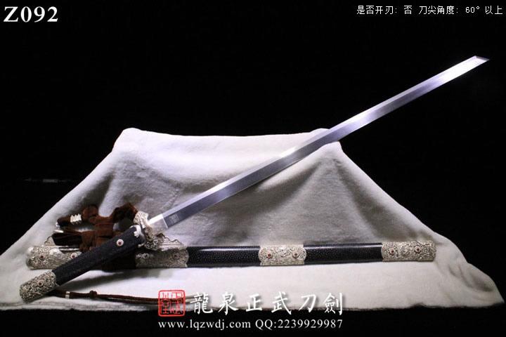手锻陨铁锻手雕银装黑鱼皮柄、鞘上上研切刃造唐刀