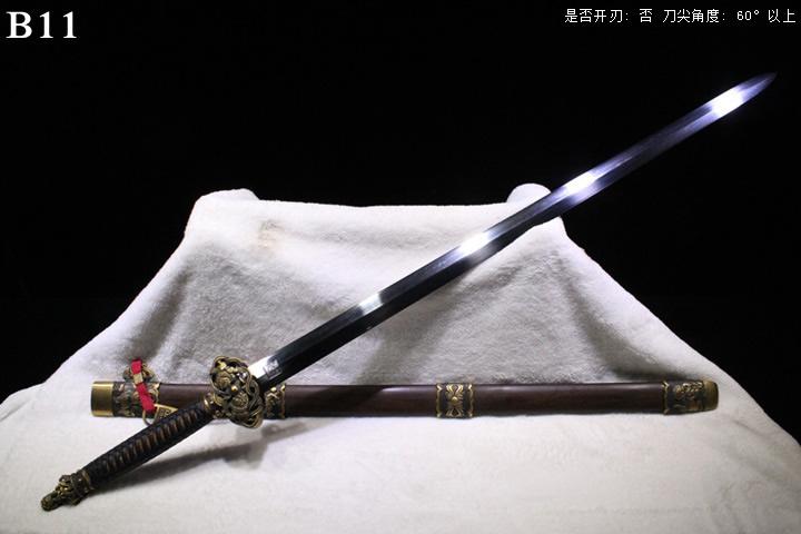 龙泉正武堂三枚地肌铜装狮坛剑